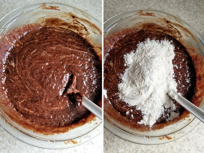 showing how to add flour to sourdough brownie batter