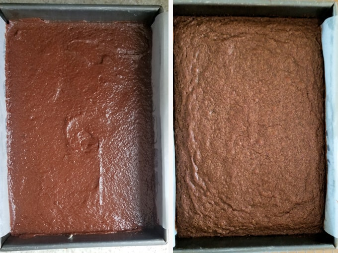 sourdough brownies before and after baking.