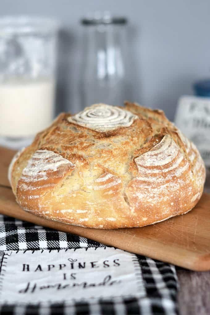 a loaf of sourdough semolina bread