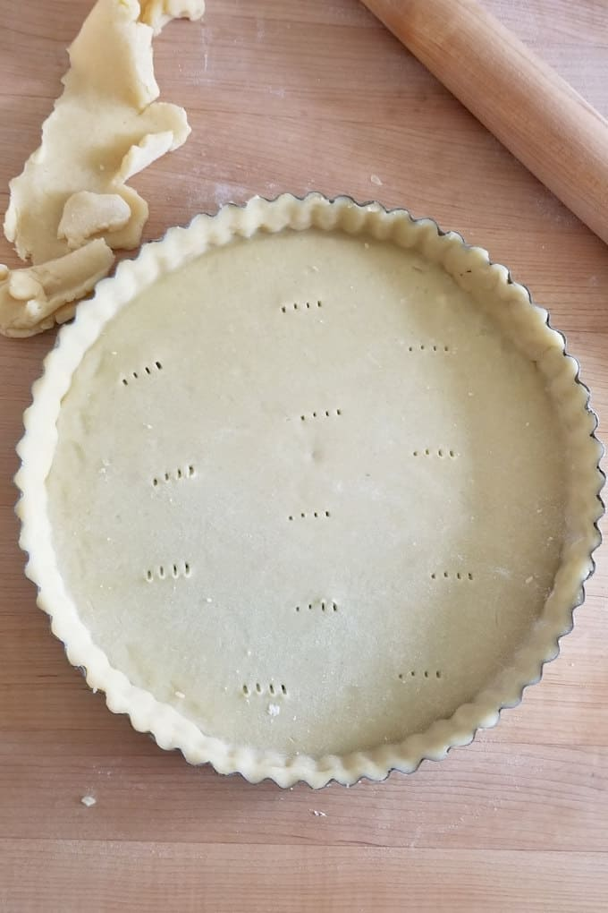 a tart pan lined with dough ready for the oven