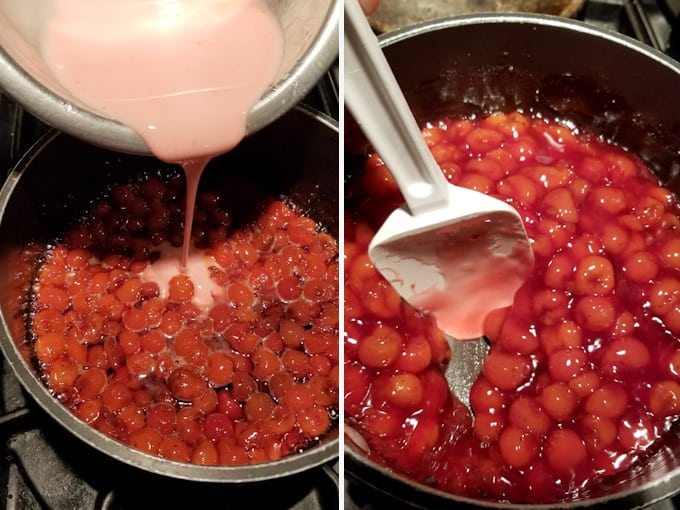 two side by side photos showing how to use corn starch to thicken sour cherry cake filling.