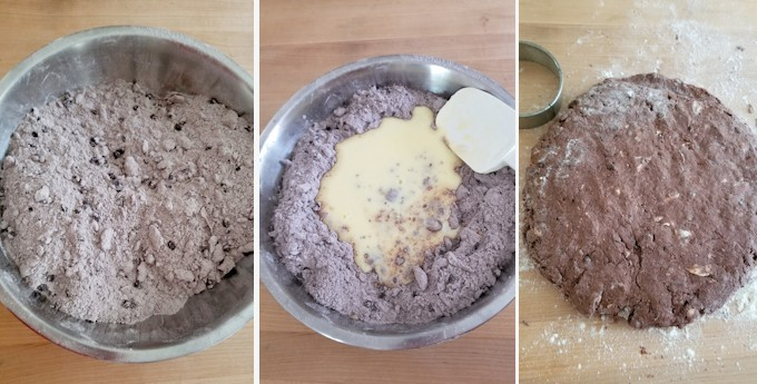 three side by side photos showing how to mix chocolate shortcake biscuit dough.