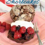 a pinterest image for chocolate shortcake recipe