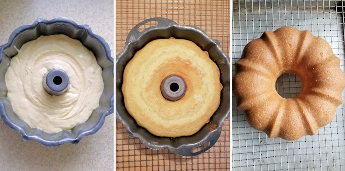 three side by side photos showing sourdough bundt cake before and after baking and then cooling on a rack