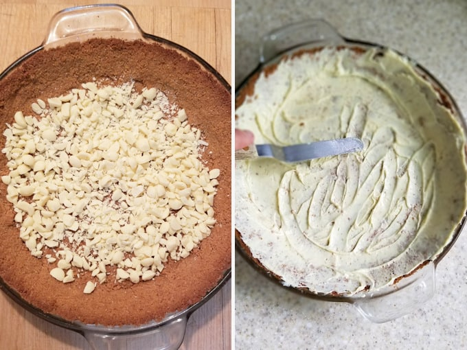 two side by side photos showing how to coat a graham cracker crust with white chocolate