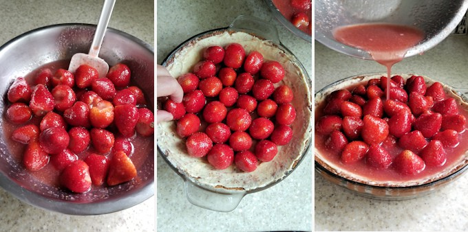 Three side by side photos showing how to fill a fresh strawberry pie with rose wine glaze