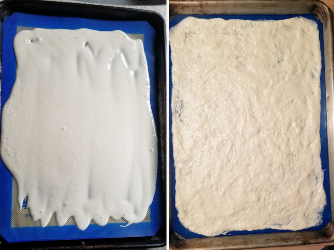 two photos showing fed and unfed sourdough starter ready for drying on a sheet pan.