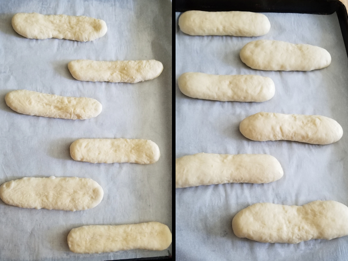 side by side photos showing hot dug bun dough before and after rising