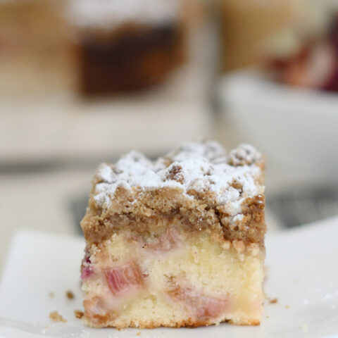 a piece of crumb cake on a plate
