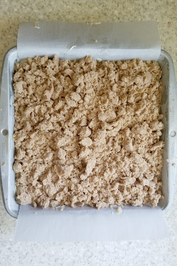 a crumb cake ready for the oven