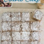 a pinterest image with text overlay for rhubarb crumb cake