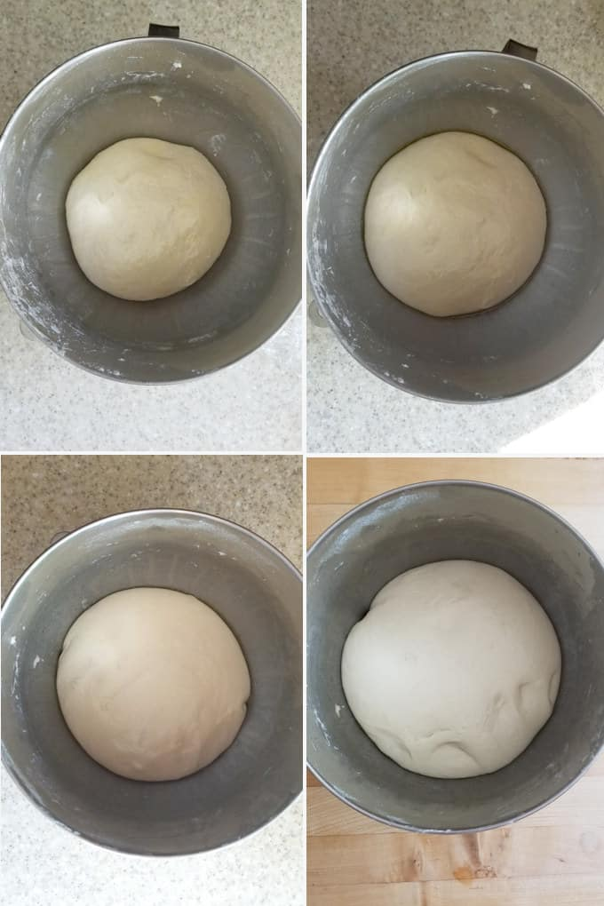 4 images showing the stages of fermentation for sourdough pizza