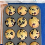 a pinterest image for blueberry cornbread muffins with text overlay