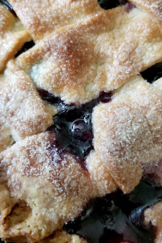 a closeup shot of blueberry pie filling bubbling hot from the oven