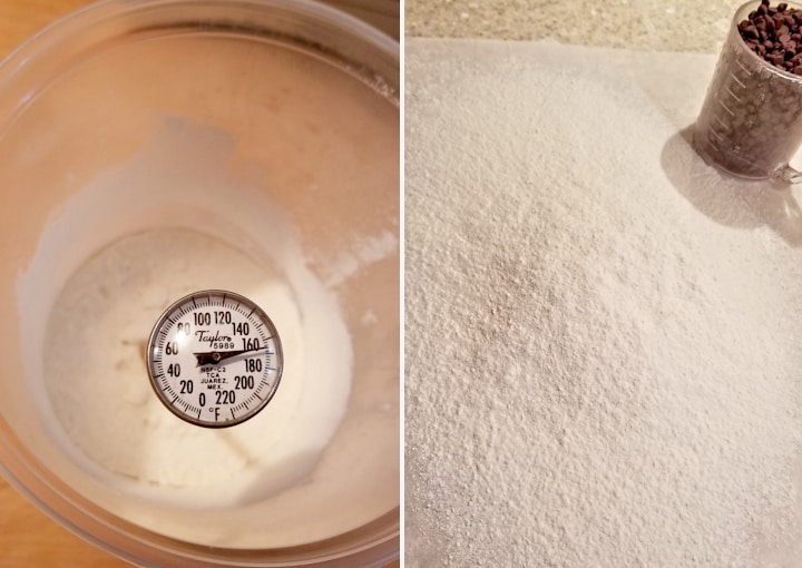 two photos showing how to make raw flour safe to eat in cookie dough