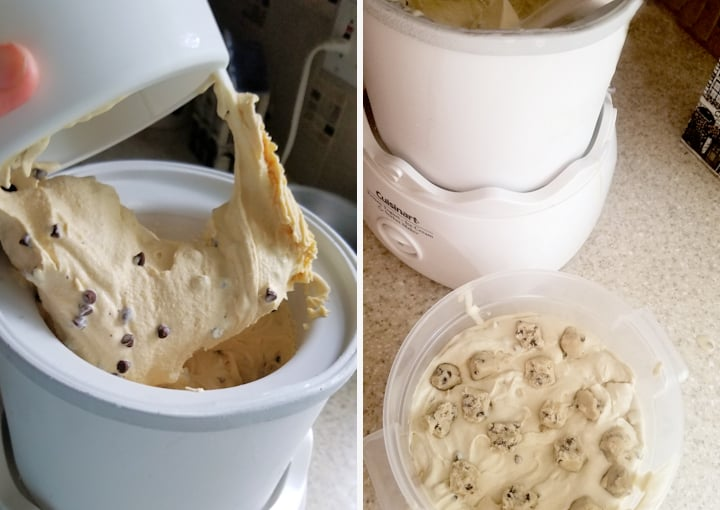 two photos showing how to layer cookie dough into ice cream