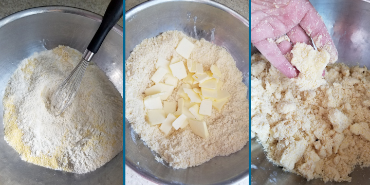 three side by side photos showing the steps to make cornmeal pie crust