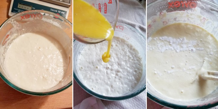 three side by side photos showing how to mix sourdough pancake batter