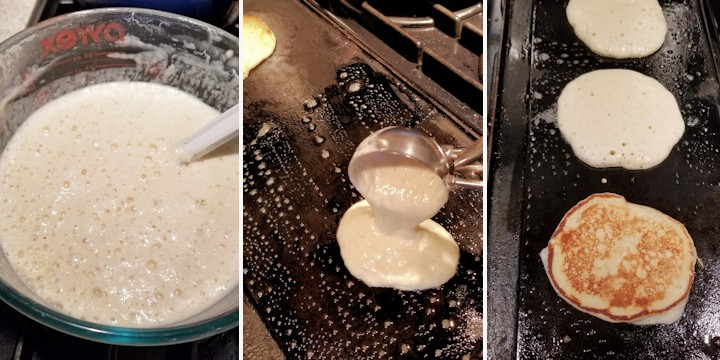 three side by side photos showing how to cook sourdough pancakes