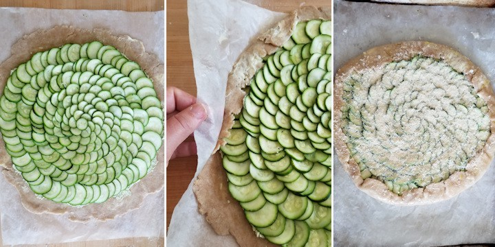 three side by side photos showing how to assemble a zucchini galette