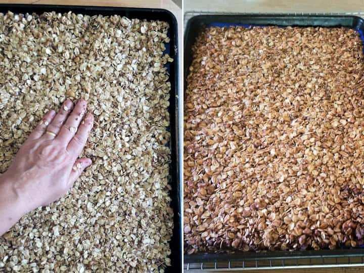 two side by side photos showing granola before and after baking