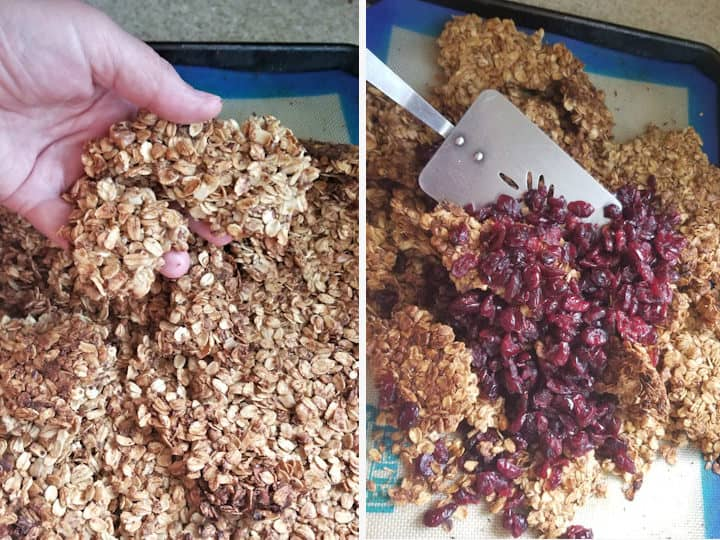 two photos showing how to break baked granola into large chunks and tossing in dried fruit