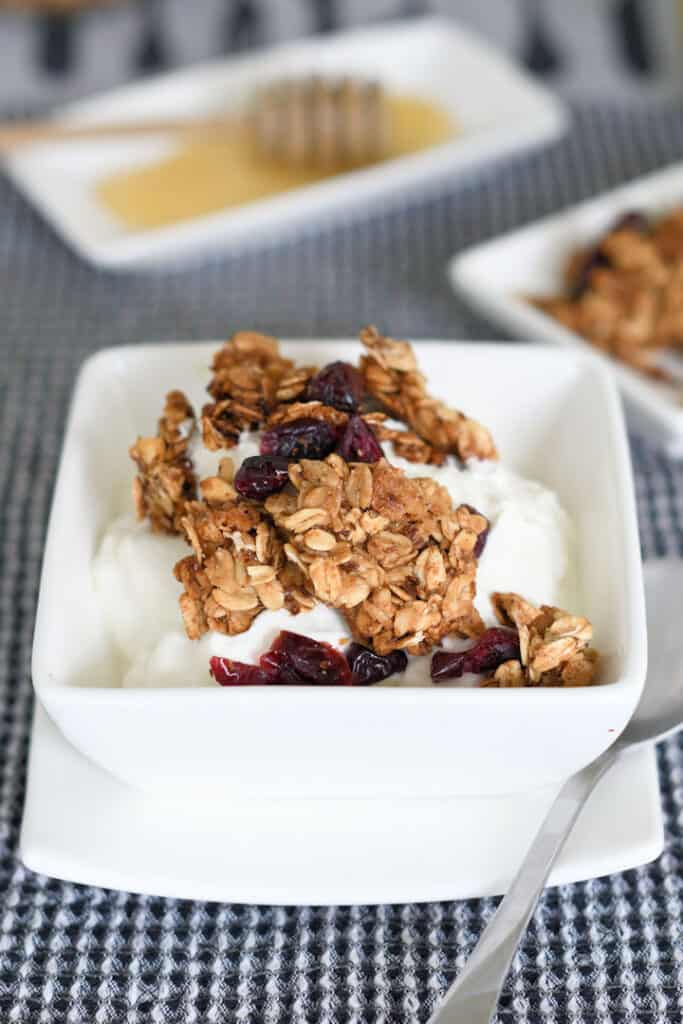 a bowl of yogurt topped with chunky homemade granola