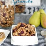 a pinterest image for chunky granola with text overlay