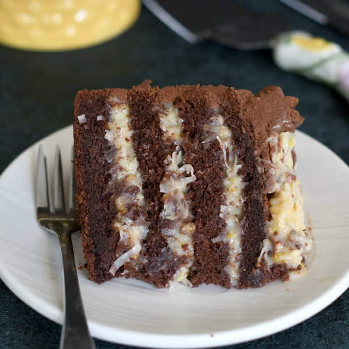 a lice of german chocolate cake on a plate