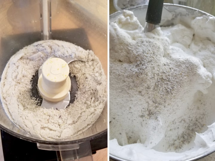 two side by side photos showing how to process the lemon lavender sugar for making angel food cake and a closeup shot of folding the mixture into the meringue.