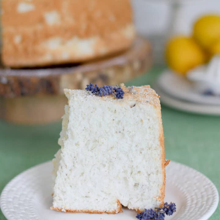 a slice of lemon lavender angel food cake on a plate