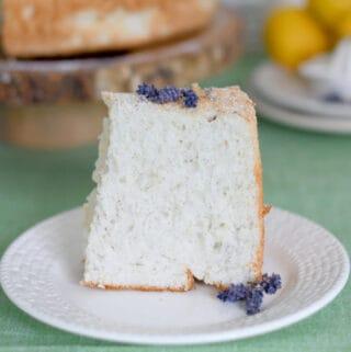 a slice of angel food cake on a plate