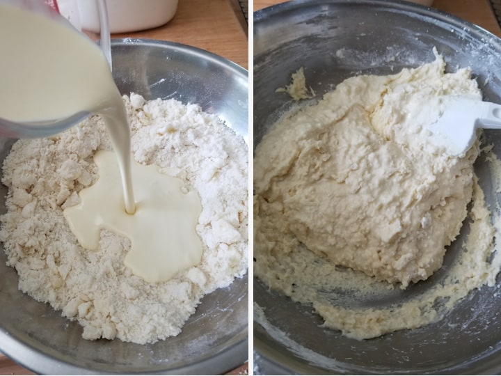 two side by side photos showing how to mix vanilla cream biscuits for cobbler topping