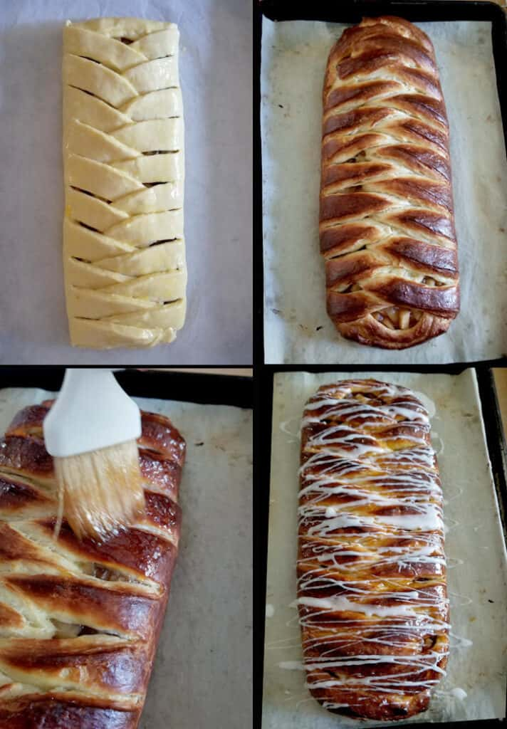 four photos showing how to bake and finish an apple danish braid