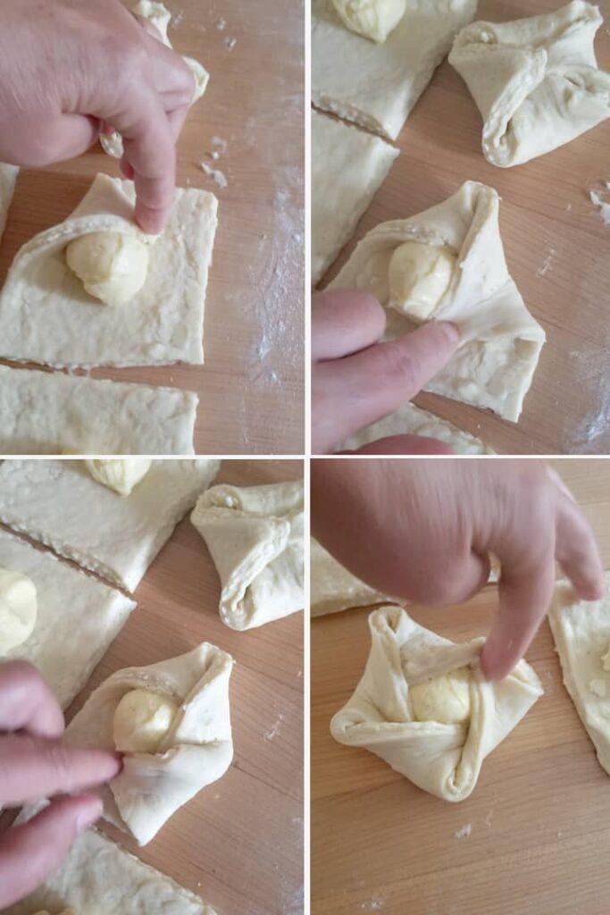 four photos showing how to fold a danish pinwheel