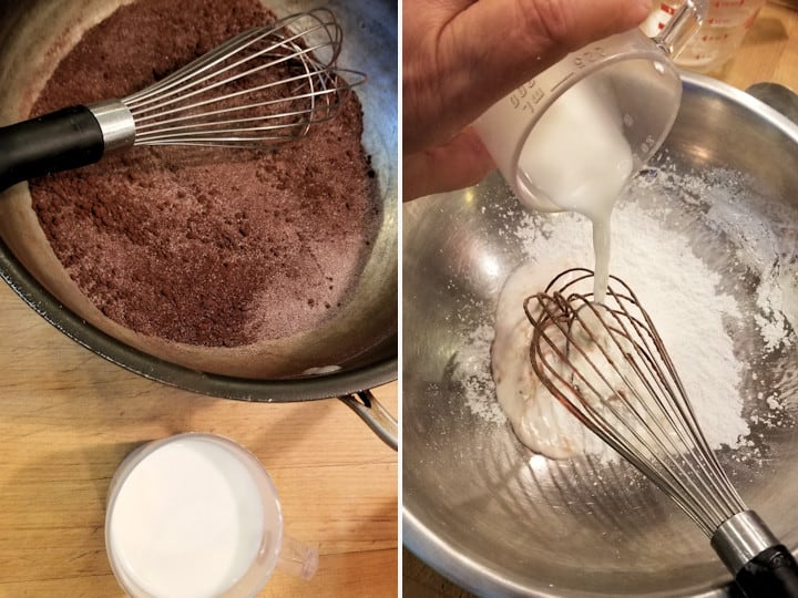 two side by side photos showing how to mix the cocoa, sugar and milk to begin making dark chocolate pudding