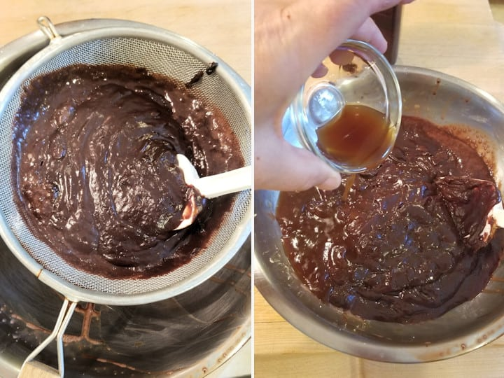 two photos showing how to strain chocolate pudding and add the flavorings