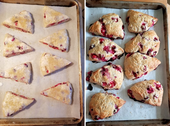 two photos showing cranberry orange scones before and after baking