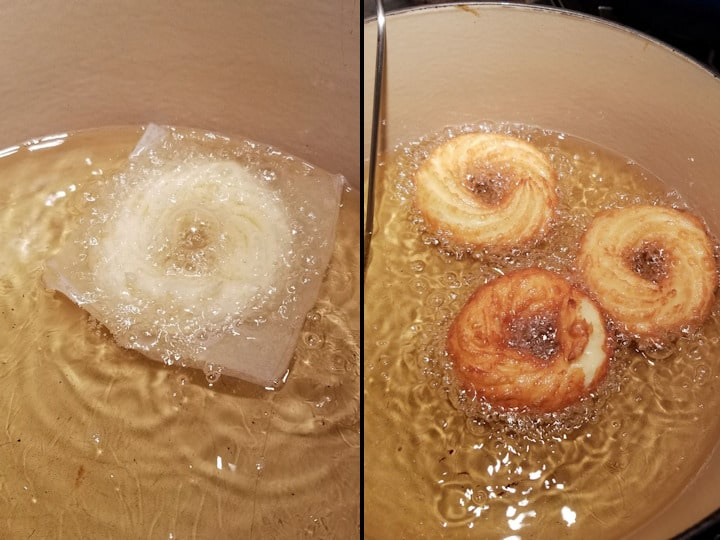 two photos showing how to fry french crullers