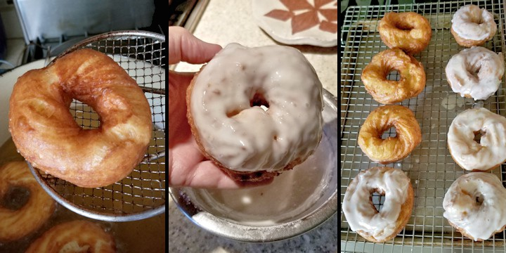 three photos showing how to glaze french crullers