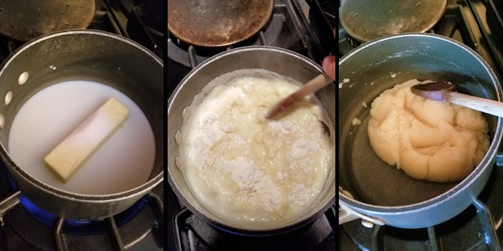 three side by side photos showing how to cook the base for pate a choux