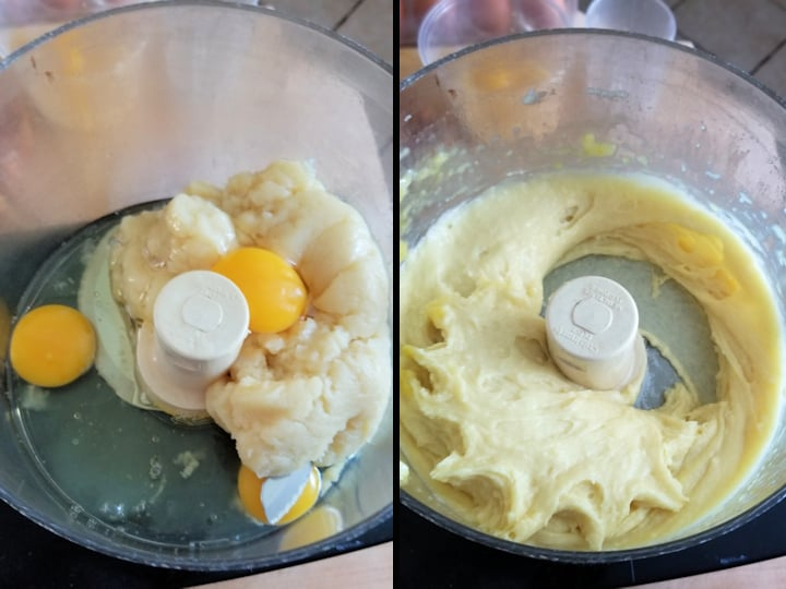 two photos showing before and after eggs are added to batter for french crullers