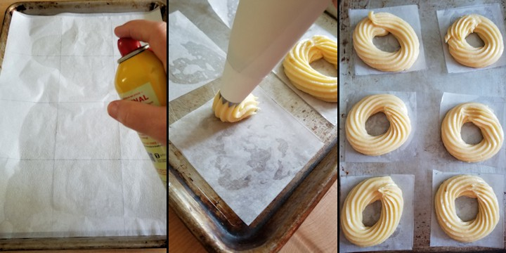 three side by side photos showing how to pipe french crullers