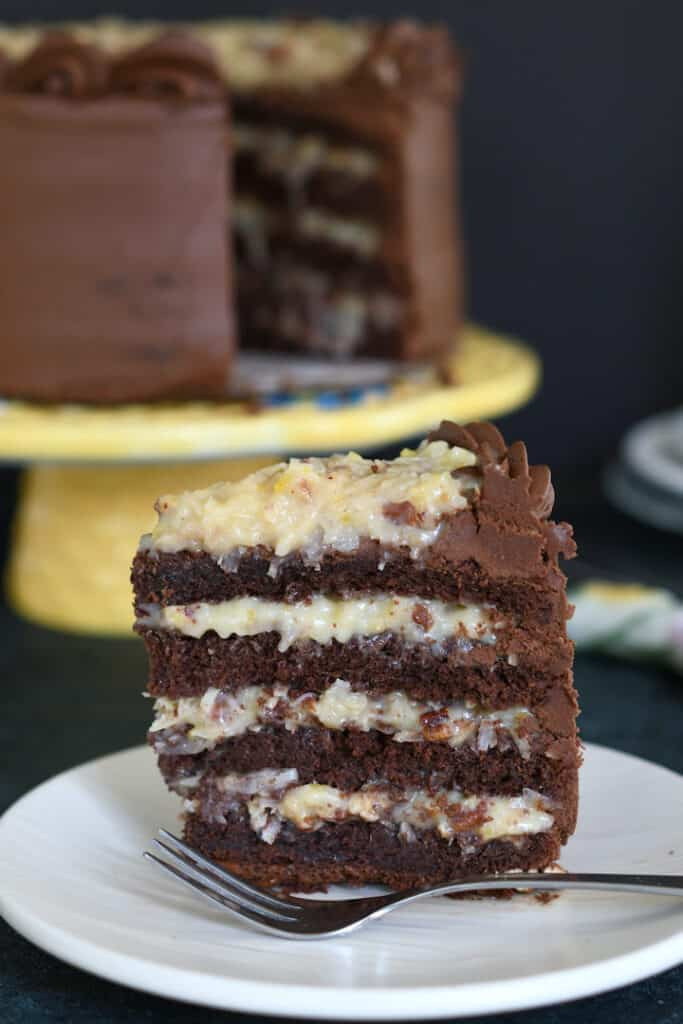 a slice of german chocolate cake standing up on a plate.