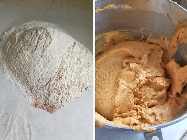 two photos showing how to mix pumpkin batter for whoopie pies.