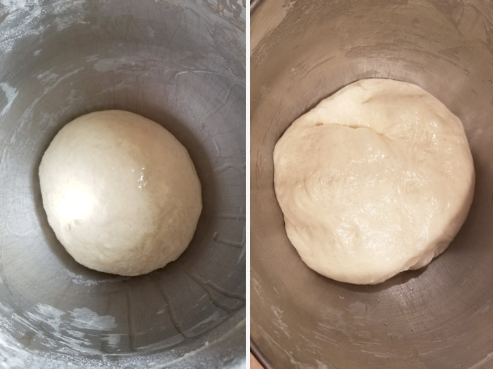 two photos showing sourdough danish pastry before and after fermentation