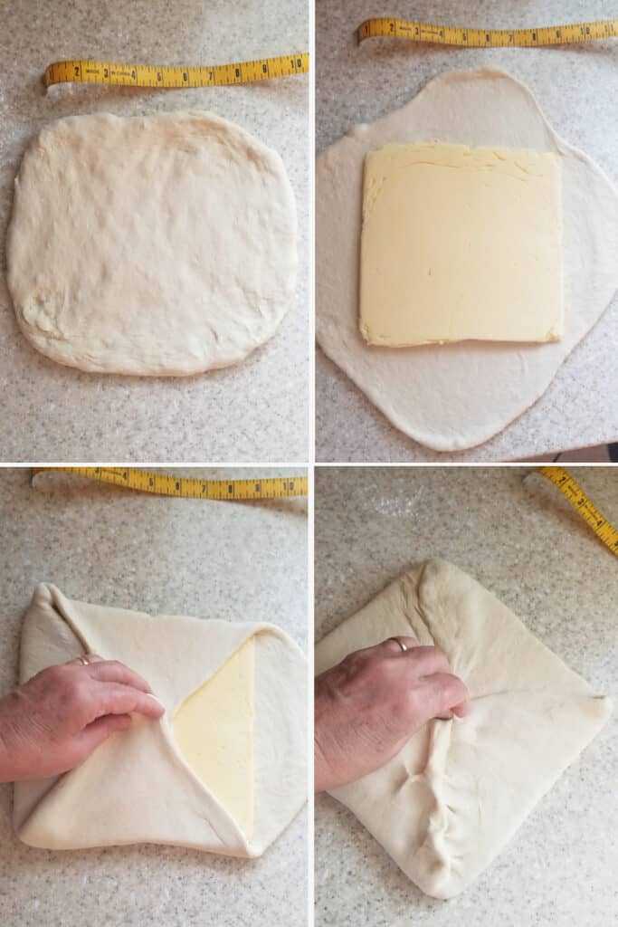 four process photos showing how to fold the butter into yeasted dough