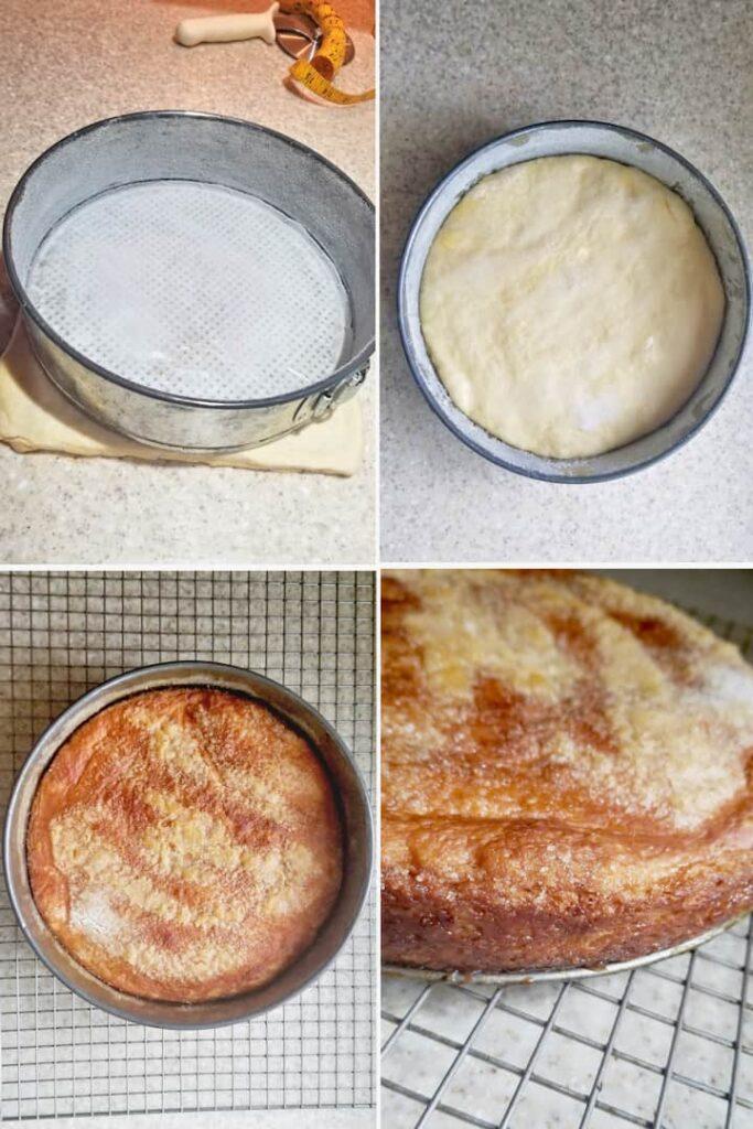 four process photos showing how to shape a sourdough kouign-amann cake