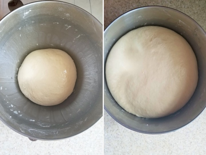 side by side shots of yeasted dough before and after rising.