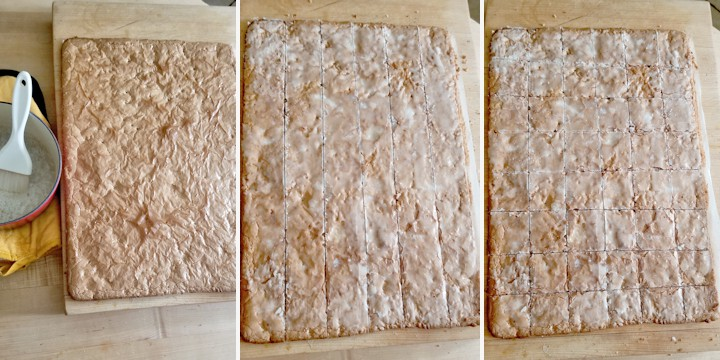 three photos showing how to glaze and cut lebkuchen